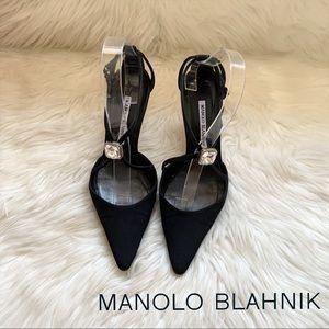 MANOLO BLAHNIK Crystal Embellished Satin Heels